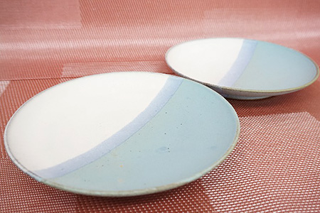 大谷焼 二色掛分け取り皿 ペア