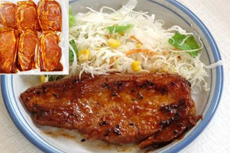 お肉屋さんの「味噌豚ステ-キセット(国産豚ロ-ス)」