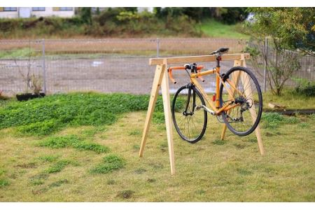 桧製自転車ラック 宿輪木