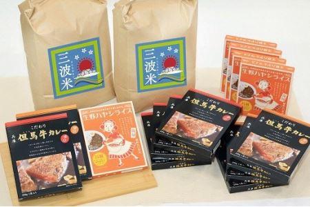こだわり但馬牛カレー&生野ハヤシライスと朝来市三波産コシヒカリ(5㎏×2袋)