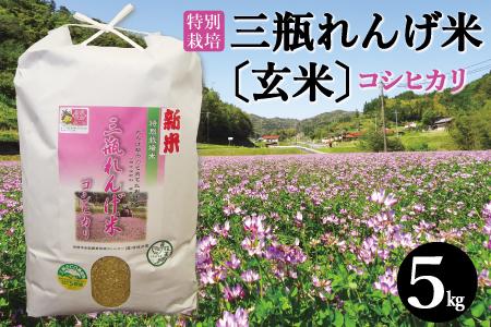 【玄米】特別栽培米 三瓶れんげ米コシヒカリ(平成29年産)5kg