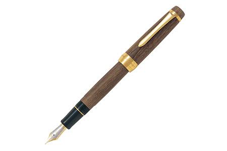 重厚な木目を感じる槐の木で作った高級万年筆1本と大竹手すき和紙のレターセット