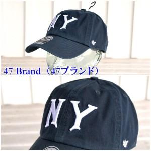 47CLEAN UP ニューヨークヤンキース キャップ帽フリーサイズNY文字入りネイビー