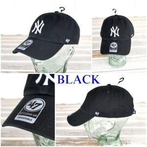 47CLEAN UP ニューヨークヤンキース キャップ帽 フリーサイズ ブラック