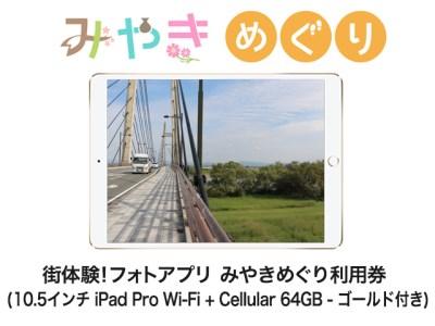 街体験フォトアプリ みやきめぐり利用券  (10.5インチ iPad Pro Wi-Fi + Cellular 64GB - ゴールド MQF12J/A 付き)