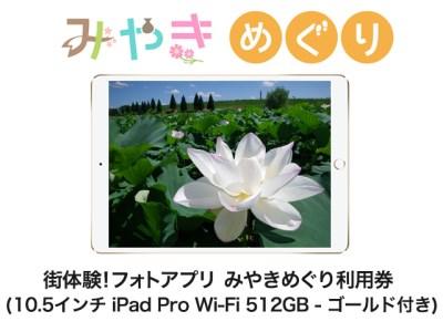 街体験フォトアプリ みやきめぐり利用券  (10.5インチ iPad Pro Wi-Fi 512GB - ゴールド MPGK2J/A 付き)