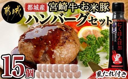 都城産宮崎牛・お米豚ハンバーグセット(黒たれ付)