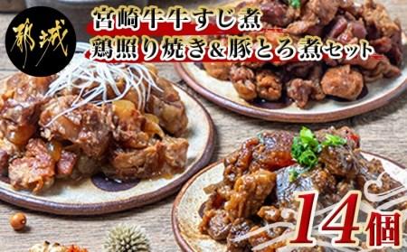 宮崎牛牛すじ煮&鶏照り焼き&豚とろ煮14個セット_AC-E702