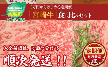 <3万円からはじめる定期便 宮崎牛食べ比べセット(3回コース・満足)>