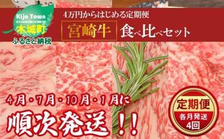 <4万円からはじめる定期便 宮崎牛食べ比べセット(4回コース・満足)>
