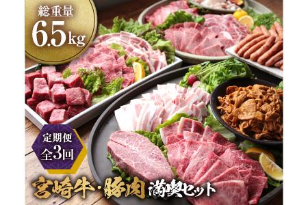 3か月定期便「お楽しみ」宮崎牛・豚肉満喫セット(総重量6.5kg)都農町加工品