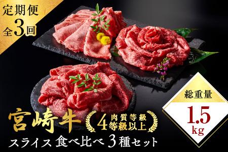 3か月お楽しみ定期便『宮崎牛スライス食べ比べ3種セット』総重量1.5kg