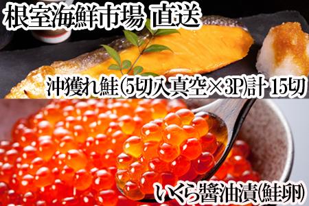 いくら醤油漬け(秋鮭卵)80g×2P、時鮭12切 A-14167