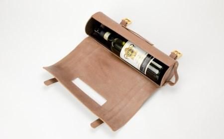 山梨の野生鹿革を使用したワインバッグ【db】