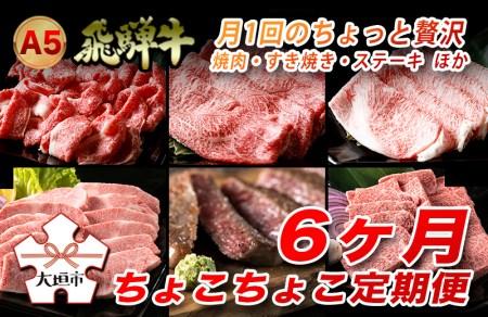 A5飛騨牛 定期便 6カ月ちょこちょこお届け(焼肉・すき焼き・ステーキ)