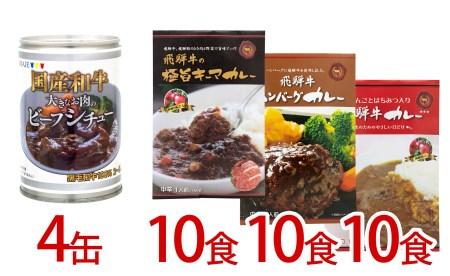 大きなお肉のビーフシチュー(430g×4缶)・3種類の飛騨牛カレー1袋×10×3種類(30食)[I0016]