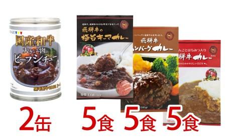 大きなお肉のビーフシチュー(430g×2缶)・3種類の飛騨牛カレー1袋×5×3種類(15食)[E0055]