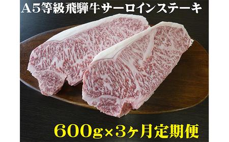 【3ヶ月定期便】A5等級 飛騨牛 サーロインステーキ用 600g