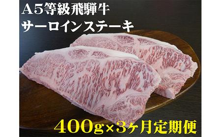 【3ヶ月定期便】A5等級 飛騨牛 サーロインステーキ用 400g