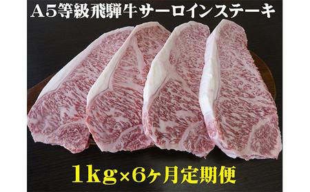 【6ヶ月定期便】A5等級 飛騨牛 サーロインステーキ用 1kg