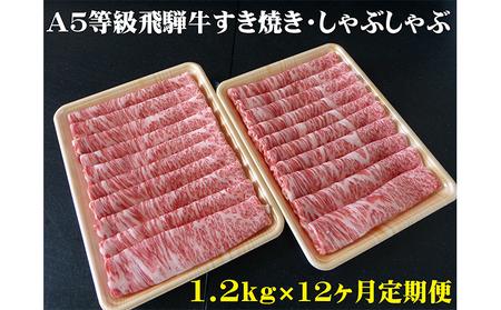 【12ヶ月定期便】A5等級 飛騨牛 すき焼き・しゃぶしゃぶ用 1.2kg ロース又は肩ロース肉